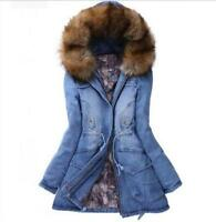 New Women's fashion hooded thick denim padded jacket fur casual trench coat Size