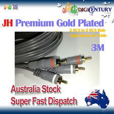 *JH* Premium Gold Plated 2 RCA to 2 RCA Male Dual Stereo Audio Vidio Cable 3M