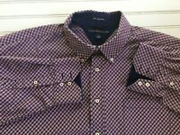Tommy Hilfiger Shirt Men XXL red white navy plaid Button Down No Iron Lg Sleeve