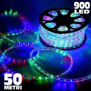 Tubo Luminoso A Led 50 Metri Multicolore Interno Ed Esterno Con 8 Giochi Di Luce