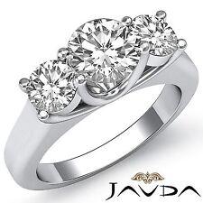 1.5ct Round Diamond 3 Stone Beautiful Engagement Ring GIA F VVS2 14k White Gold