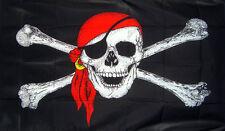 3ft x 2ft Pirate Ship 100D Jolly Roger Skull and Crossbones Bandana Biker Flag