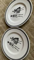 ROYAL STAFFORD 2 HALLOWEEN SKELETON BRIDE GROOM MAN WOMAN DINNER PLATES DISHES