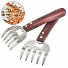 2Pcs Meat Claws Stainless BBQ Shredder Long Wood Handle Bear Claw w/Fork Opener