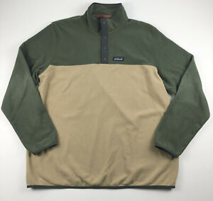 Patagonia Mens Micro D Snap T Pullover Fleece Jacket Sweater Green Tan XL