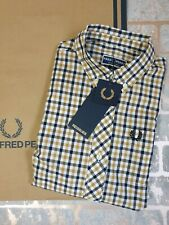 Fred Perry Ladies REISSUES Button Down Gingam Woven Shirt Black Gold size 8