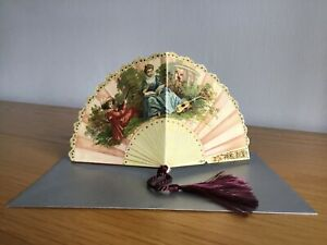 Greeting card, Victorian Fan card with a tassel