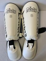 FAIRTEX SP7 White Twister Muay Thai Boxing Detachable Shin Pad Guards SZ XL
