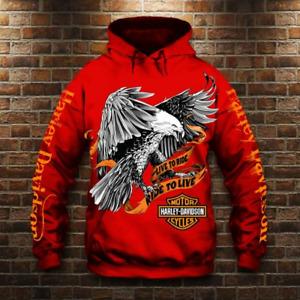 3D Skull Harley-Davidson Unisex Hoodie Sweatshirt Hooded Sweater Pullover NEW#