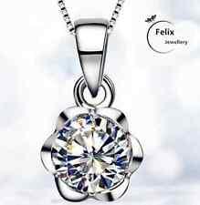 Zircon Rose Pendant 925 Sterling Silver Necklace Chain Jewellery Women Xmas Gift