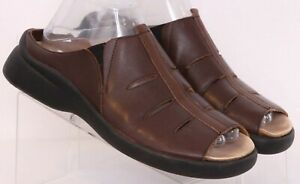 Haflinger Brown Leather Cutouts Slip-On Slide Sandal Shoes Euro 39 Womens US 8.5