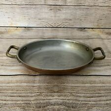 More details for vintage tagus chef oval copper dish 2 handled heavy used made in portugal