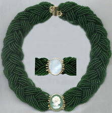 14k V. Fine WHITE on GREEN PEARL GEORGIAN CAMEO BEAD COLLAR NECKLACE Re-Designed