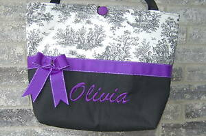 Large Personalized Diaper Bag (Black/Purple Toile Print, Bag Only)