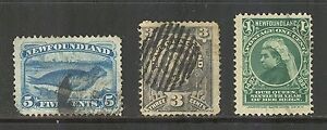 Newfoundland # 55 / 60 - 61, 1890's Singles (3 Different), Cancelled / Used
