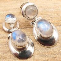 "Natural RAINBOW MOONSTONE Gems Dangle Stud Earrings 0.9"" ! 925 Silver Plated"