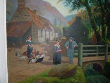 Tableau Huile sur Isorel paysans animaux de ferme montagne signé F. STIWILSON