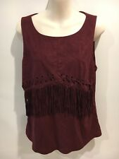 Table Eight Boho Plum Suede Look Tassel Top Size L