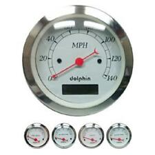DOLPHIN WHITE 5 GAUGE ELECTRONIC SPEEDOMETER KIT HOTROD/STREETROD/FORD/CHEVY