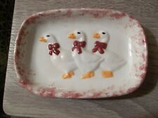 VTG HANDMADE CERAMIC SOAP DISH TRINKET DISH DUCKS GEESE NO DAMAGE