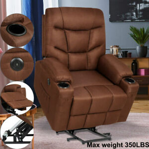 Electric Power Lift Recliner Chair Heat Vibration Massage Remote Elderly Assist
