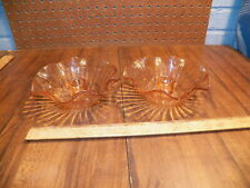 Vintage Pair Of Pink Depression Glass Candle Holders - Bowls w Scalloped Edges !