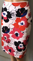 M & S Womens Floral Knee Length Bodycon Pencil Skirt U.K. Size 12 Ivory Mix Exc