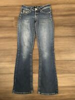 ZCO JEANS Women's Juniors Embroidered/Embellished Boot Cut Blue Jeans-Size 3