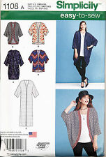 SIMPLICITY SEWING PATTERN 1108 MISSES 4-26 EASY KIMONO JACKETS - ALSO PLUS SIZES