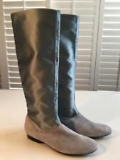 New Authentic ROBERT CLERGERIE Suede Silk Gray Leather Knee High Flat Boots 8.5