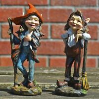 Pair of Elves Garden Ornaments Decoration Sculpture Fairy Pixie Gnome