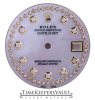 Custom White MOP String  Genuine Diamond Dial to Fit Rolex Datejust Quickset