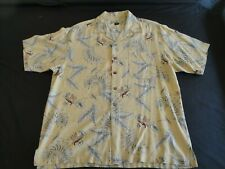 Tommy Bahama Size L Hawaiian Button Down Silk Short Sleeve Shirt Mens w/Pocket