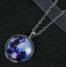 Glass Galaxy Necklace Pendant Silver Metaphysical Jewelry Healing Celestial Star
