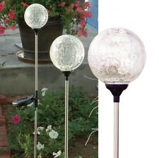 """1003-3 Solar Crackle Glass Globe 3.5"""" with Color Changing LED, Set of 3 Balls"""