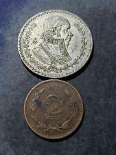 2 Coin Lot. MEXICO 1927 2 Centavos + 1961 SILVER 1 Peso Coins #7514