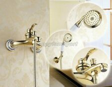 Gold Polished Brass Bathroom Tub Faucet Tap Handheld Shower ytf404