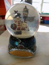 "Snowman Glass Snow Globe Music Box Wish You a Merry 4"" Globe - 6"" Total Height"