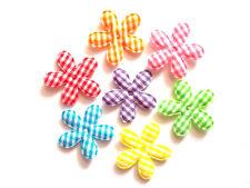100 pcs Mix colors cute Gingham long petals Flowers padded Appliques size 25 mm