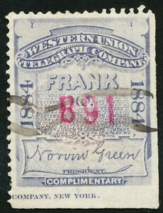 DR JIM STAMPS US SCOTT 16T14 WESTERN UNION FRANK 1884 USED NO RESERVE