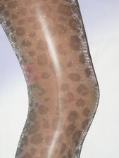 Leopard and Rose Pattern Glittery Tights. Ladies 8-12 NEW sparkle silver