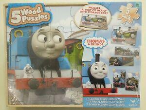 THOMAS & FRIENDS - 5 WOODEN PUZZLES - 2014 - BNIB