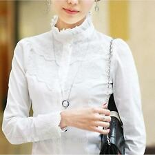 Fitted Elegant Fashion Lace Blouse Victorian Shirt Office Long Sleeve Top Size White 14