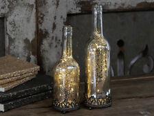 Chic Antique Flasche mit Lichterkette Batterie Silber Nostalgie vintage u shabby