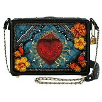 Mary Frances Day of the Dead Black Heart Red Blue Handbag Bead Evening Bag New