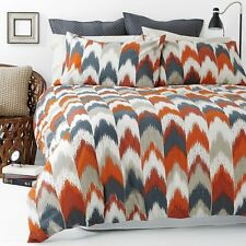 On Sale Flame Stitch Orange Queen Size Quilt / Doona Cover Set In 2 Linen Covers