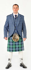 New Blue or Green Tweed & Flower Of Scotland  8 Yard Scottish full kilt Package