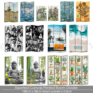 Large 3 Panels Room Divider Canvas Double Sided Decoration Gift Folderable Stand