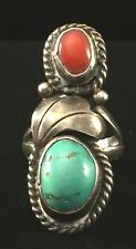 Southwestern Navajo Sterling Silver Turquoise Red Coral Ring (Sz 4.25) C105