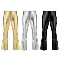 Mens Flared Slim Fit Biker Metallic Shiny Pants Stage Trousers Night Party Dance